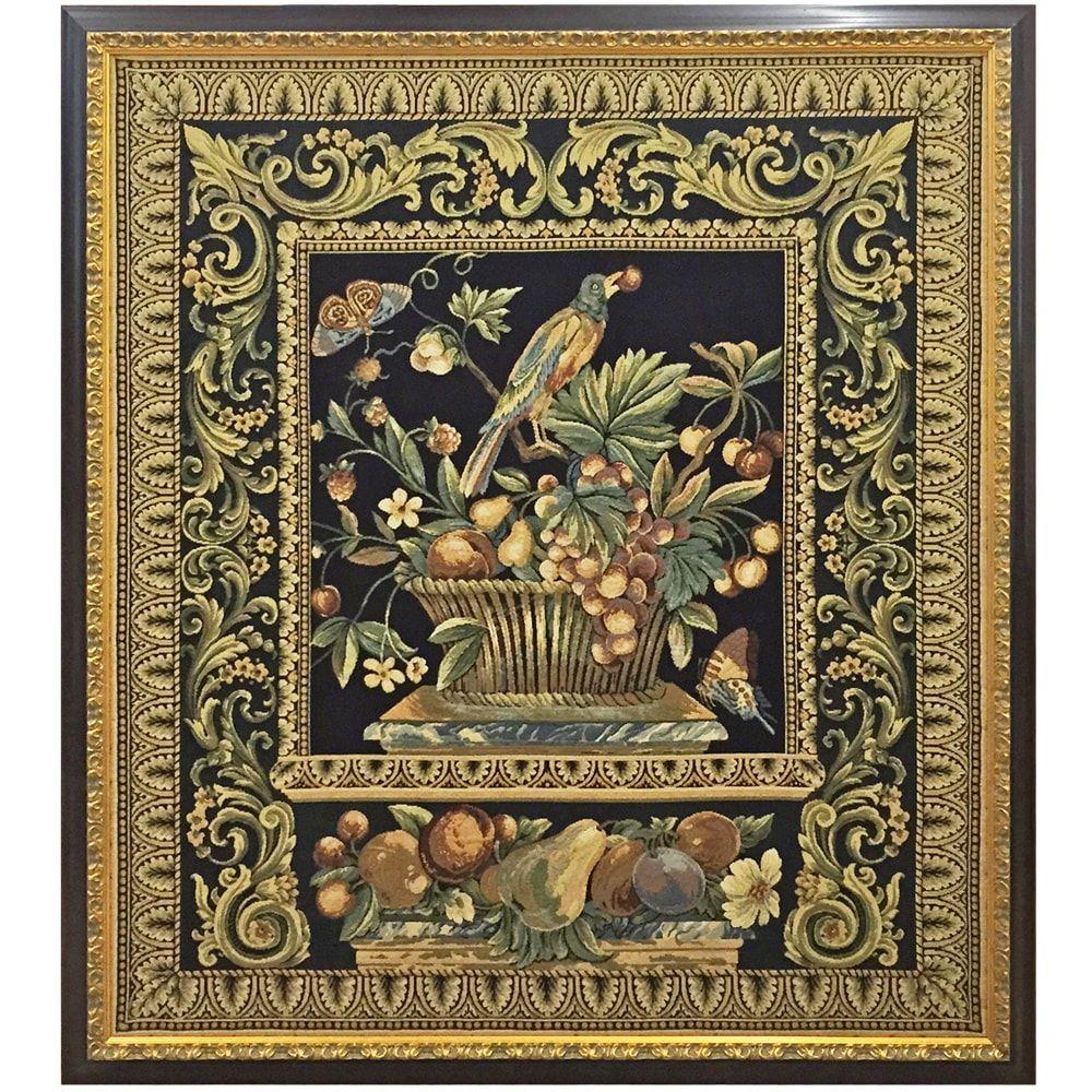 ゴブラン織のタペストリー          /                        壁面に飾るゴブラン織り、額縁を付ければ劇的に変わります